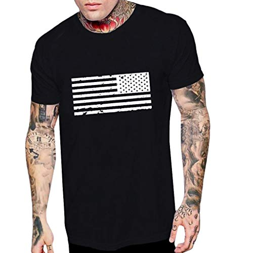 WEUIE Men's Tshirts Men Novelty Graphic Tees American Flag Print Crewneck Short Sleeve Summer Top T-Shirts Blouse Black