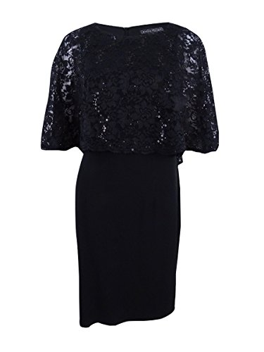 Jessica Howard Womens Lace Popover Capelet Dress Black 12