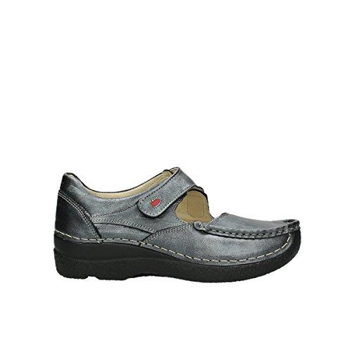 90280 Metallic lacets Stroll Leder Chaussures Comfort Wolky Seamy Grau à yft8wYfqKg