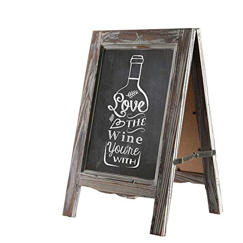 (Liry Products 15 inch Wooden Chalkboard Vintage Small Rustic Finish A-Frame Sandwich Sign Dual Double-Sided Blackboard Easel Scalloped Bottom for Indoor, Restaurant, Sidewalk, Cafe,)