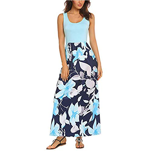 (AmyDong Women's Sleeveless Boho Floral Print Dresses, Summer Tank Top Splicing Sundrss Beach Long Maxi Dress)