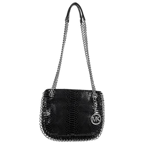 Michael Kors Chelsea Small Shoulder Bag in Black Patent Python, Bags Central