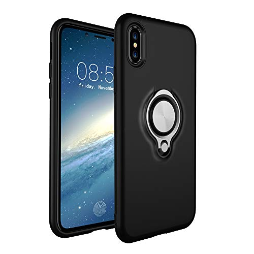 HONTECH Compatible Apple iPhone Xs Max 6.5 2018 Case, Magnetic Car Holder 360 Rotating Ring Kickstand Cover, Black