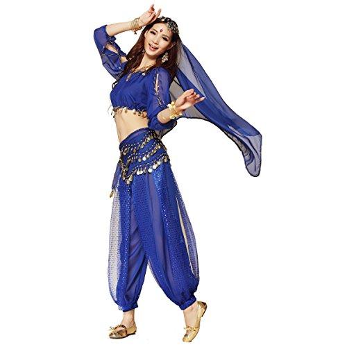 [Pilot-trade Women's Belly Dance Costume 3-Pieces Lanterns Sleeves Top Harem Pants Hip Scarf Belt Dark] (Woman Pilot Halloween Costume)