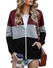 onlypuff Women's Zip Up Hoodie Long Sleeve Hooded Drawstring Sweatshirts Coat with Pocket