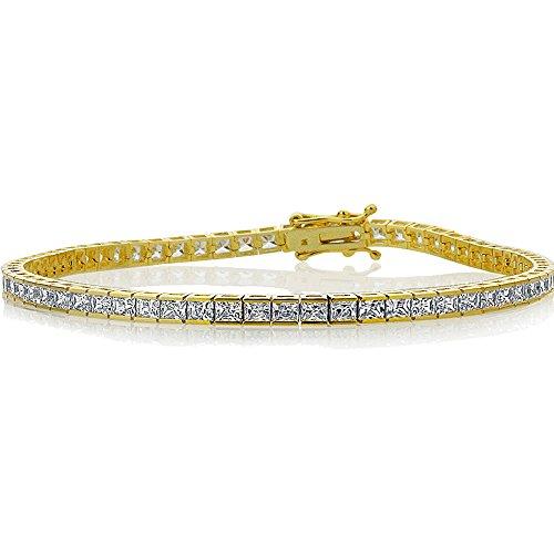 Double Accent 14K Yellow Gold 2mm 4.9 ct.tw Princess Cubic Zirconia Channel Set Tennis Bracelet ()