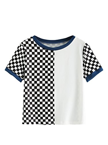 Romwe Women's Color Block Short Sleeve Top Patch Plaid Mixed Print Tee Shirt Multicolor ()