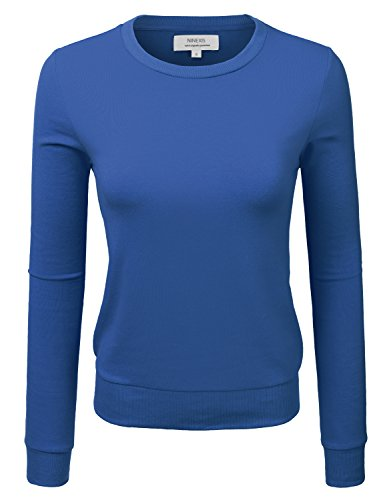NINEXIS Women's Solid French Terry Pullover Sweatshirt COBALTBLUE L