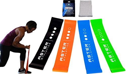 Heavy Duty 4 Piece Exercise Resistance Band Loop Workout Set, Perfect Strength Training For Physical Therapy, Legs, Arms, Full Body, Speed, Mesh Bag, Bonus Cooling Towel