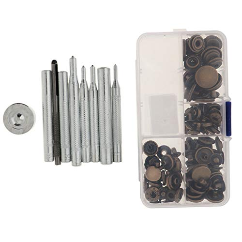 40 Sets DIY Clothing Snaps Kit for Leather Jacket Jeans Button Supplies   Color - Antique Brass