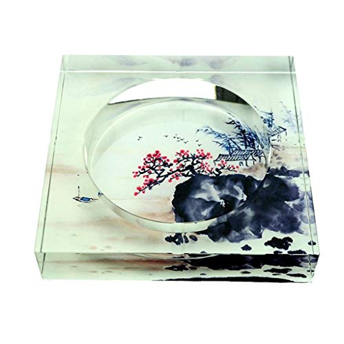 Huasen Home Ashtray Ashtray 3D Plum Blossom Square Crystal Fashion Creative Gifts Home Living Room Decoration Office Ashtray (Size : 25254.5cm) by Huasen (Image #2)