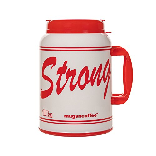 100 oz Giant Insulated Mug with Straw - # USA Strong - Large Red Travel Mug | Jumbo Mug
