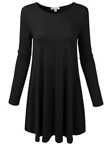 Solid Basic Long Sleeve Swing Dress with Side