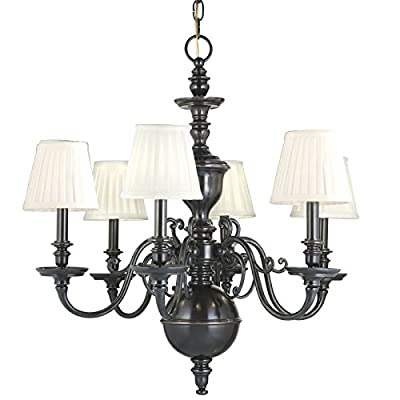 Charleston 8-Light Chandelier - Aged Brass Finish with Off White Faux Silk Shade