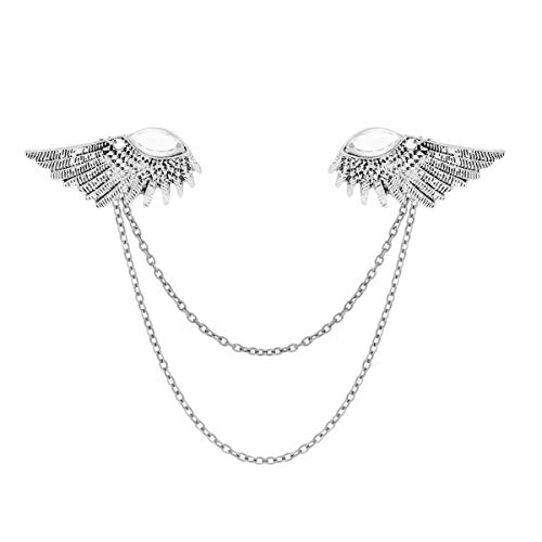 Collar Clip Angle Wings Brooch Pin Tassels Collar Pin Shirt Collar Pin Brooch Antique Silver One Size ()
