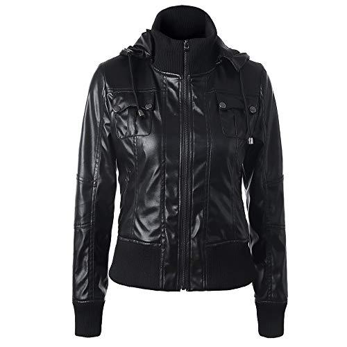 Outwear Removibles Cuero Piel Logobeing Chaquetas Invierno Mujer De Con 2 Rebajas Capucha Cremallera Negro Abrigos Chaqueta Delgada U7qpw1