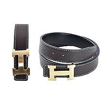 "H Logo Women Leather Coffee Belt gold/Silver buckle Width: 3.8 CM (Coffee/gold buckle, 110CM 33""-35"")"