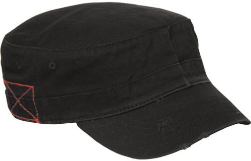 BDU Inspired Low Profile Short Bill Adjustable Cap Hat, One Size Black