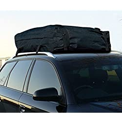 R&L Racing Heavy Duty Universal Black Water-Resistant ROOF TOP Cargo Carrier Bag Travel Luggage Storage