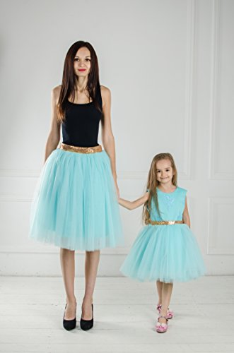 Tafetta Bow (Matching teal outfits Mother daughter matching tutu dresses, Mommy and me tourquise dress skirt with sequin gold bow, party dress, birthday dress)