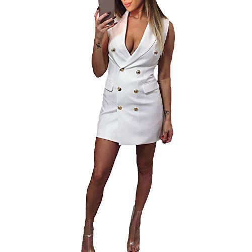 gLoaSublim Blazer Dress for Women,Sexy Women Deep V Double Breasted Summer Sleeveless Slip-On Blazer Bodycon Dress White XL