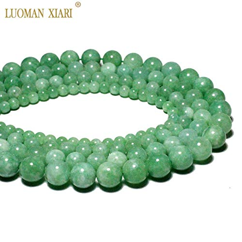 Jewelry 4 Strand Jade Necklace - Calvas Wholesale AAA+ Natural Burmese Jades jadeites Round Stone Beads for Jewelry Making DIY Bracelet Necklace 4-12 mm Strand 15'' - (Item Diameter: 6mm About 60 pcs)
