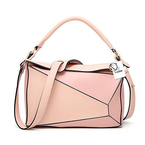 e marrone Yoome Boston in eco borse Ipad color con casual tracolla Tote contrasto borse rosa pelle Marrone Borsa a in di bag vwHCqZY