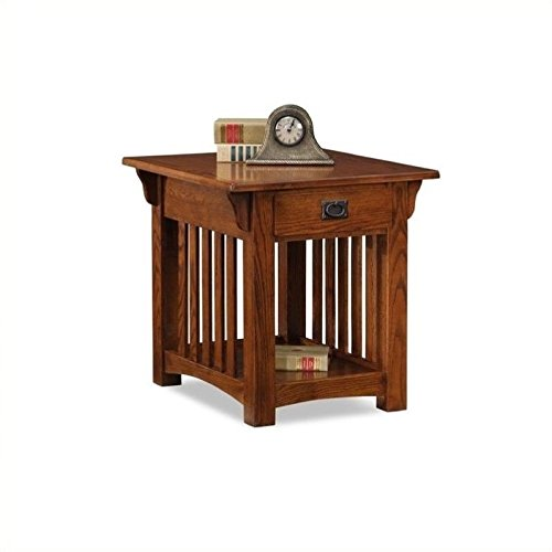 Leick Furniture Mission Drawer End Table, Solid ash and oak veneers (Oak Veneer Magazine Table)