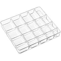 InterDesign Linus Fashion Jewelry Vanity and Drawer Organizer, Tray for Rings, Earrings, Bracelets, Necklaces - Small, Clear