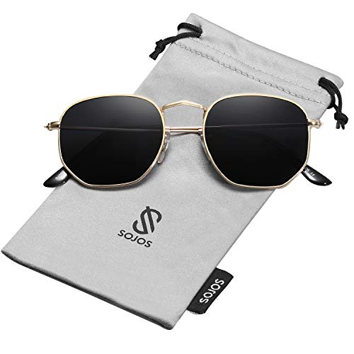 SOJOS Small Square Polarized Sunglasses for Men and Women Polygon Mirrored Lens SJ1072 with Gold Frame/Grey Polarized ()