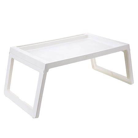Mesa plegable Fzw plástico Mesa de Cama Plegable (Color : Blanco ...