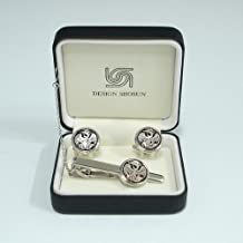 Mother of Pearl White Phoenix Design Round Tie Clip Bar Clasp Pin Tack Tac and Cufflinks Set