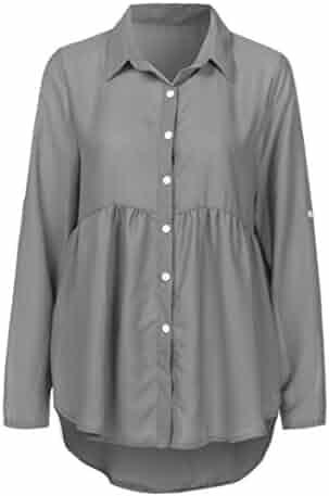 Orangeskycn Women T-Shirt Blouse Long Sleeve Casual Chiffon Plus Size Work Tops
