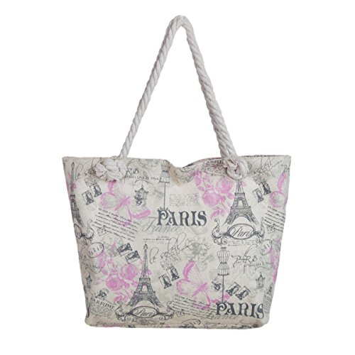 Vintage Paris Eiffel Tower Butterfly Floral Canvas Tote Shoulder Bag Handbag