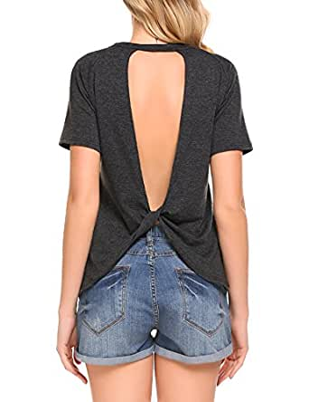 Mofavor Women's Shirt Tee Sexy Backless Short Sleeve Top Back Knot Casual Top Blouse