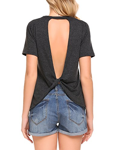 Knot Back Top - Mofavor Women's Shirt Tee Sexy Backless Short Sleeve Top Back Knot Casual Top Blouse