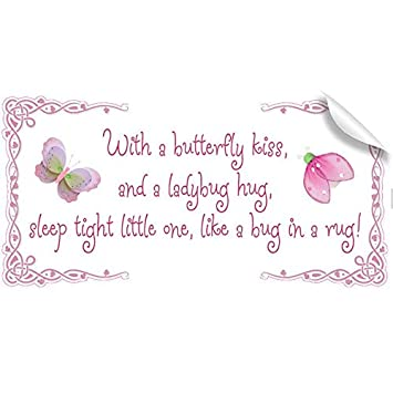 Amazoncom Butterfly Kiss Ladybug Hug Quote Removable Vinyl Wall