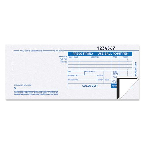 (Credit Card Sales Slip, 7 7/8 x 3-1/4, Three-Part Carbonless, 100)