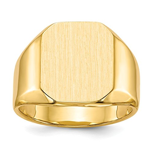 Personalized Tapered Ring (Roy Rose Jewelry 14K Yellow Gold Mens Tapered Square Solid Back Signet Ring FREE Custom Personalized Engraving with 3 Letter Monogram)