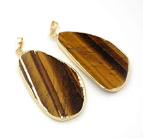 Natural Gemstone freeformed Sliced Reiki Chakra Healing Pendant Beads Gold 2pc (Tiger's Eye 25x50mm)