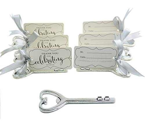Aokbean 50pcs Multi Function Vintage Skeleton Key Bottle Opener Place Card Holders for Weddings Table Name Cards for Guest Souvenir French Ribbon Silver (Antique Silver)