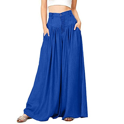 UOFOCO Plus Size Wide Legs Pants Women Casual High Waist Trousers Soft Pantalon Long Pants Blue