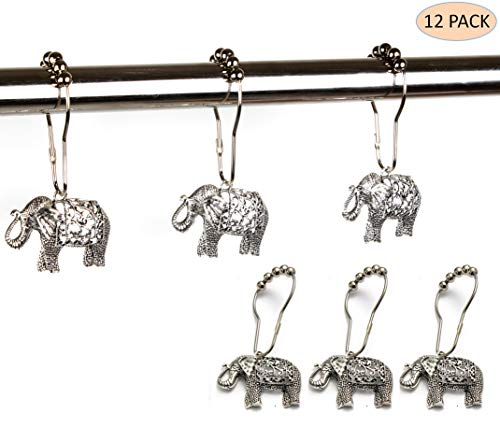 Rust Proof Shower Curtain Hooks - Brushed Nickel Rings with Elephant Decorative Accessories Set Design for Bathroom Curtain, Kids Room, Home, condo Decor (Antique Silver, Stainless Steel, Set of 12) ()