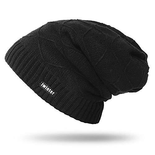 GUGER Men Boys Beanie Hat, Stretchy Thick Knit Fleece Lined Skullies Beanies, Warm Soft Slouchy Skull Hats for Autumn Winter (Black)