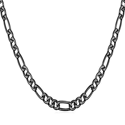 U7 Black Gun Plated Necklace 3mm Italian Style Figaro Chain 18 Inch (Figaro Chain Style Italian)