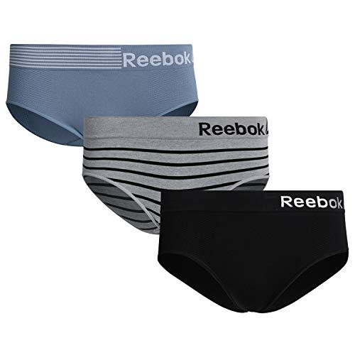 Reebok Womens Seamless Hipster Panties 3-Pack, Blue/Grey/Black, Size X-Large'