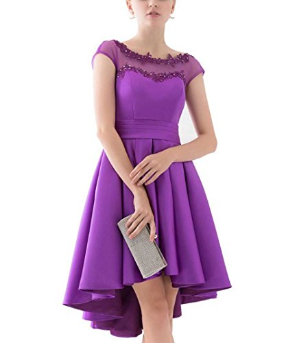Partykleider Ballkleider Beyonddress Hochzeit Satin Hoch Abendkleider kleider Violett Niedrig Damen Brautjungfern ggwxr0q