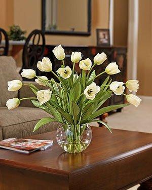 Abundance of Tulips Silk Centerpiece - Cream by Petals Silkflowers