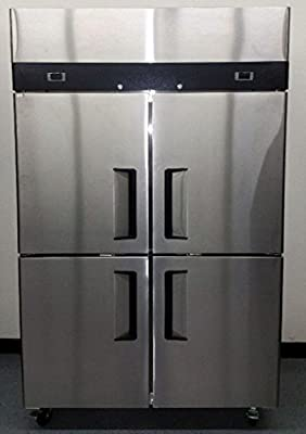 """48"""" 4 Door Refrigerator and Freezer Combo Stainless Steel Reach in Commercial Fridge/Freezer, 30.2 Cubic Feet, Dual Digital Thermostats, for Restaurant"""