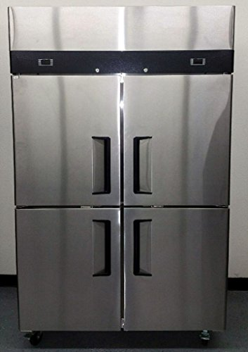 "48"" 4 Door Commercial Combo Fridge Refrigerator and Freezer, Stainless Steel, 30.2 Cubic Feet, Dual Digital Thermostats, for Restaurant"
